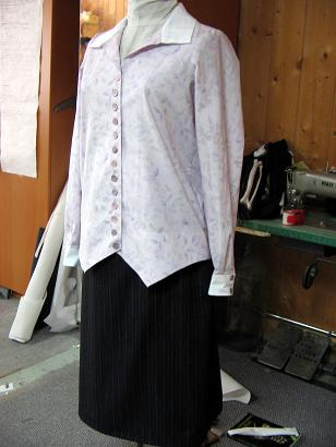 1920s Lilac Waistcoat Blouse and Navy Skirt